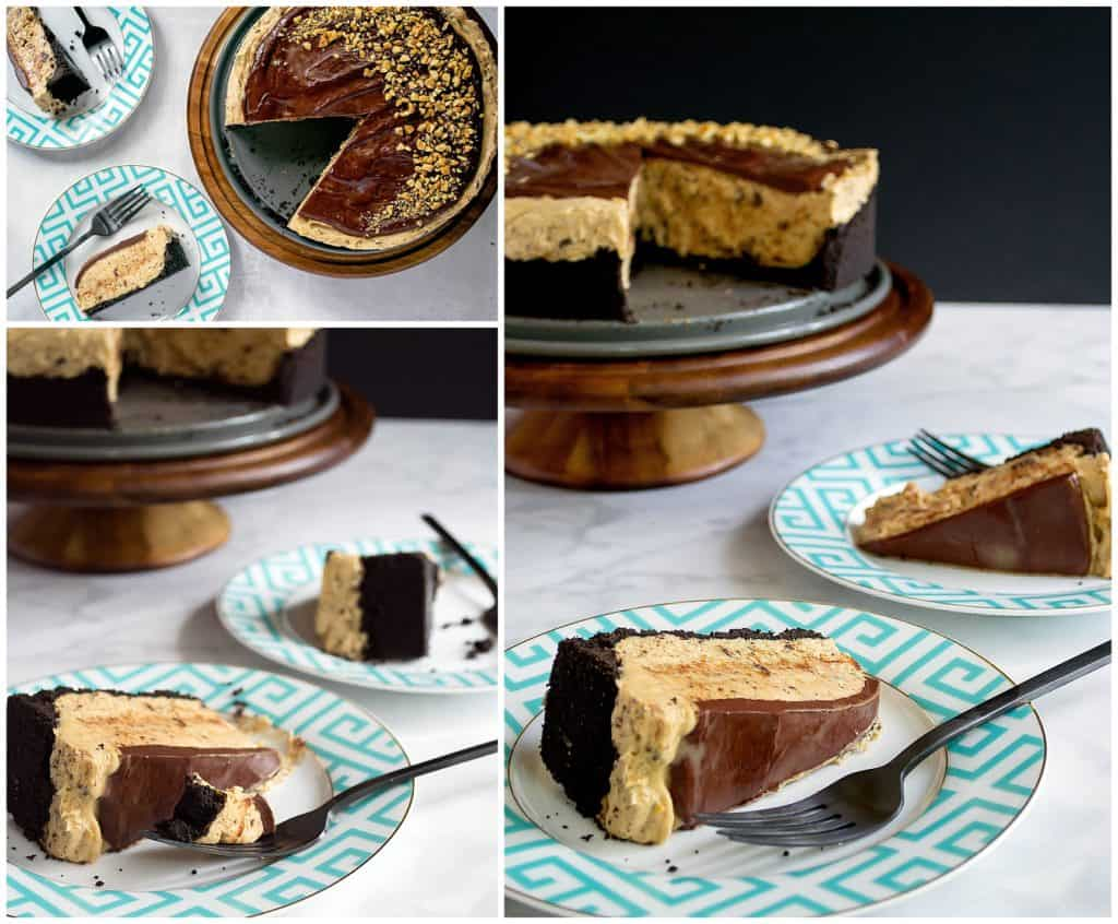 collage of chocolate peanut butter tarte with chocolate ganage on teal plates