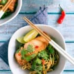 miso marinated salmon noodle bowls!