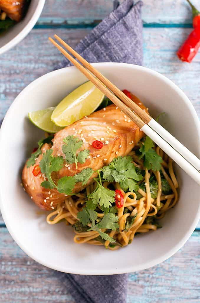 miso marinated salmon noodle bowls