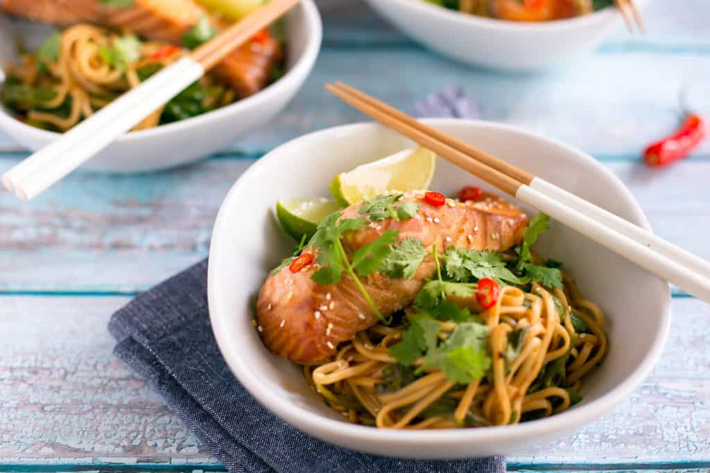 miso salmon bowl with chopsticks