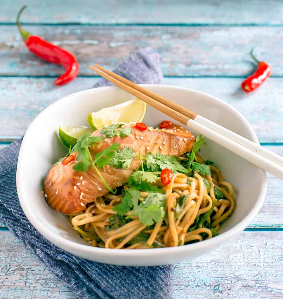 miso-marinated salmon bowl with chopsticks