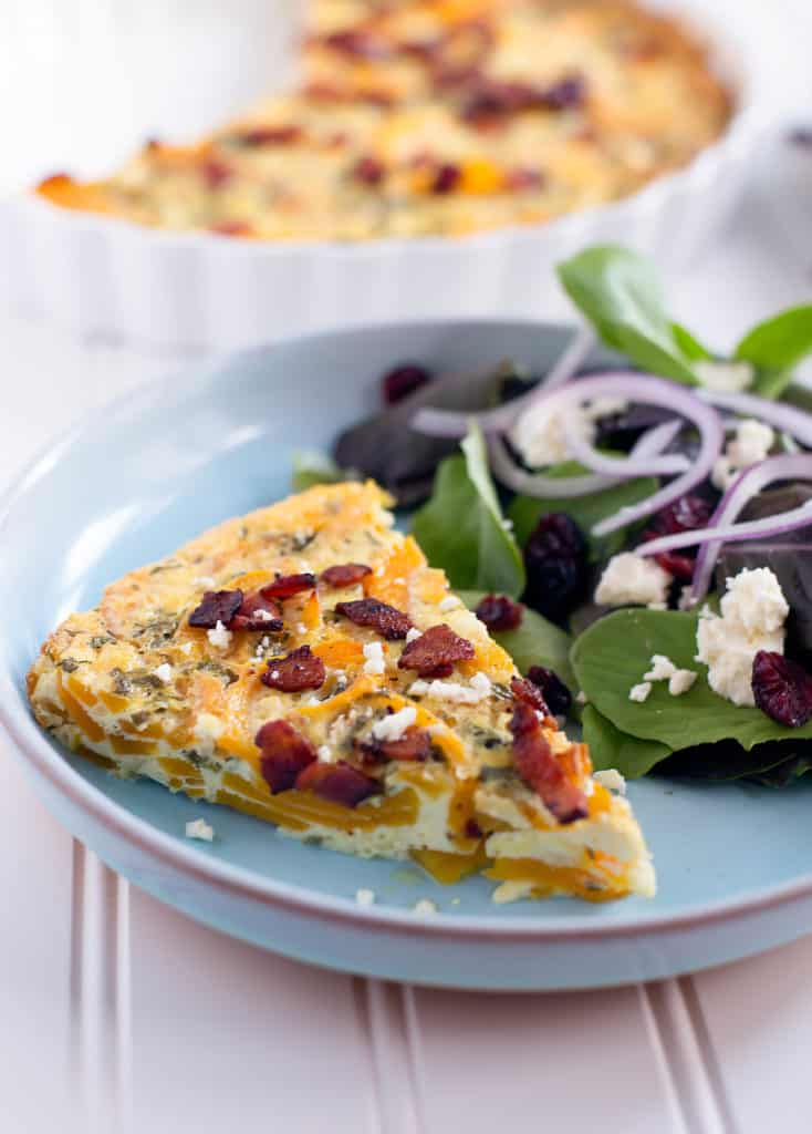 spiralized butternut squash quiche with goat cheese and bacon!