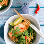miso marinated salmon with udon ciltantro and lime