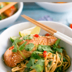 spicy miso-marinated salmon noodle bowls with udon