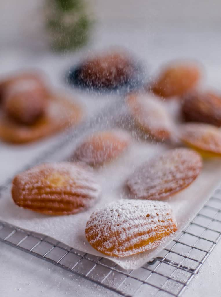 madeleines on top of cooling rack with confectioner\'s sugar on top