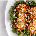hasselback butternut squash with cider bourbon and goat cheese