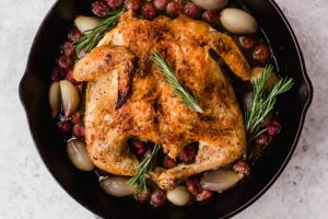 Rosemary roasted chicken with grapes and shallots