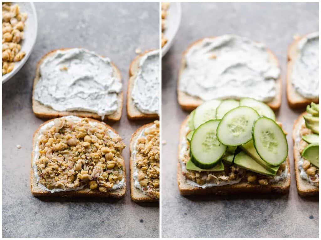 assembling chickpea sandwich
