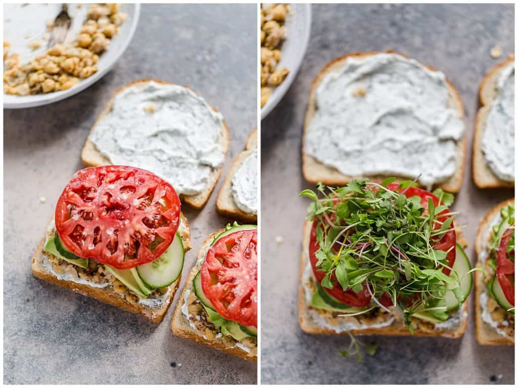how to assemble healthy vegetarian sandwich