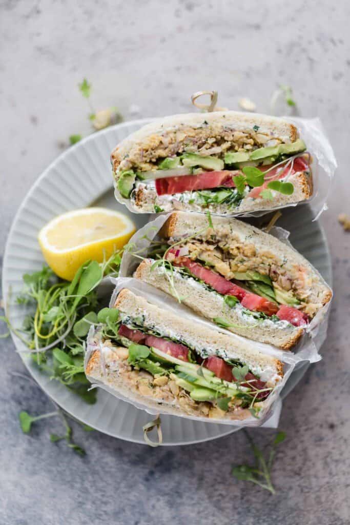 vegetarian deconstructed falafel sandwich