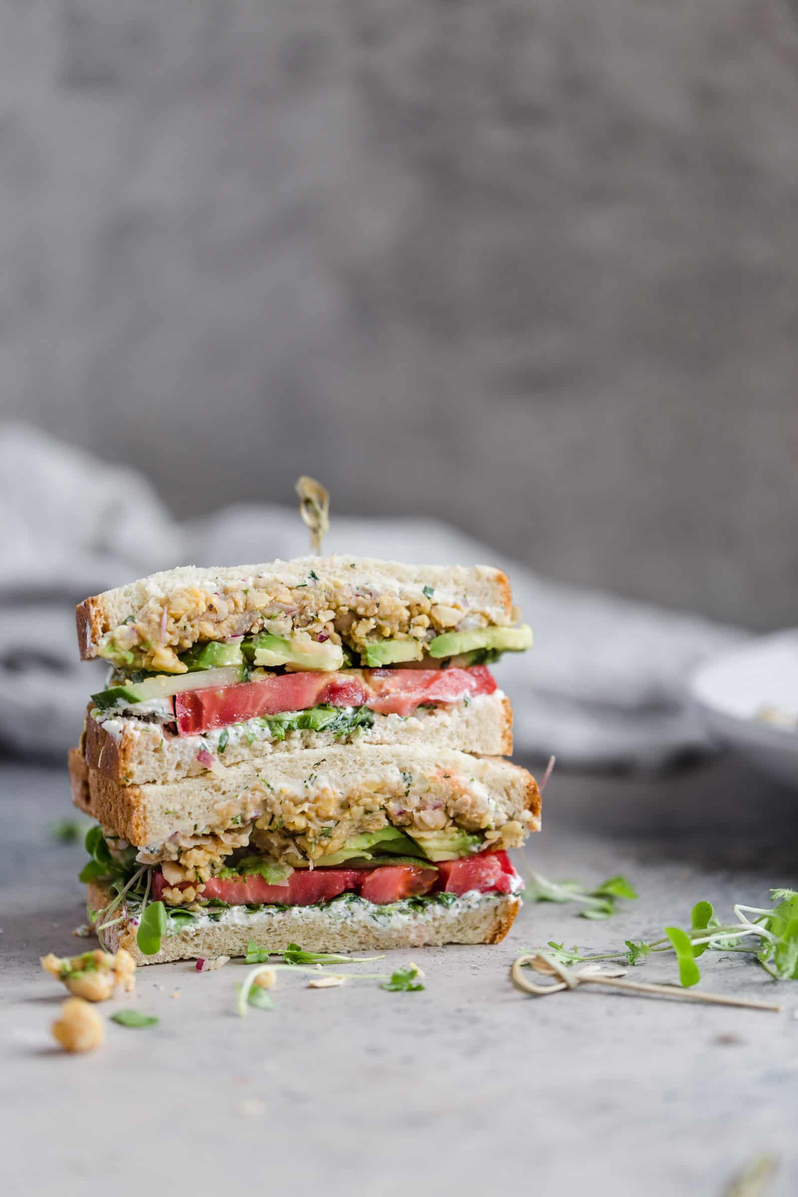 stacked deconstructed falafel sandwich
