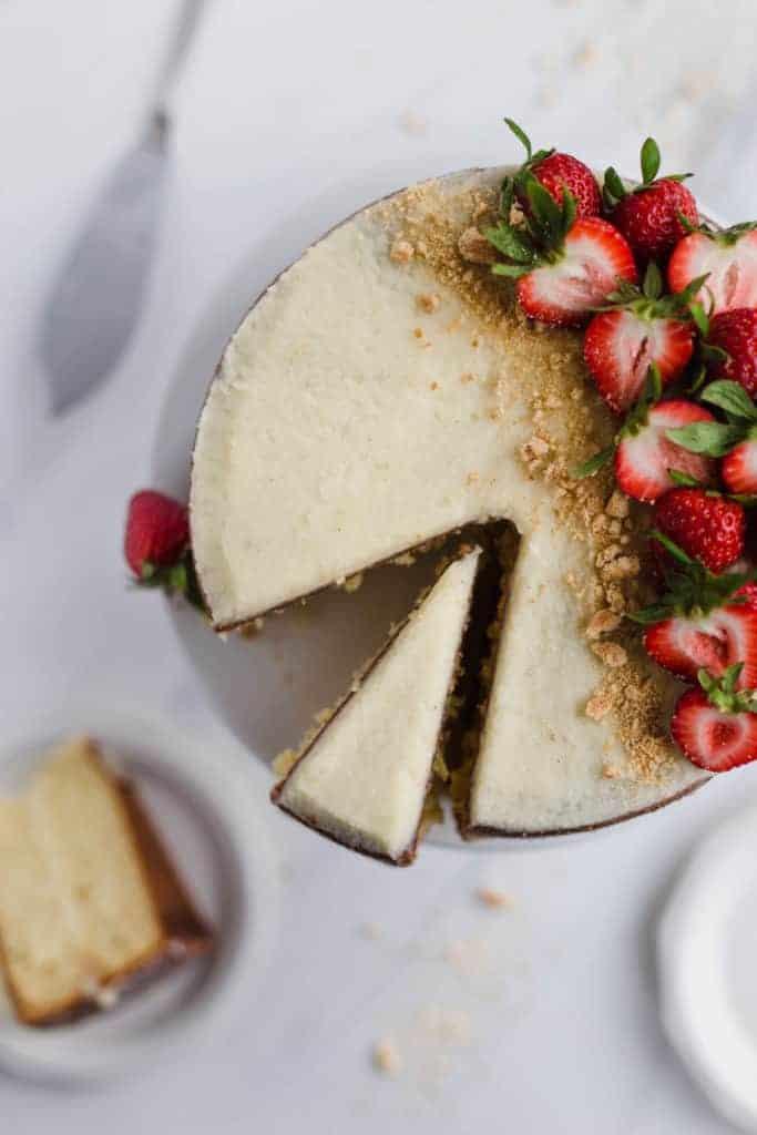 sliced vanilla cake with mascarpone frosting
