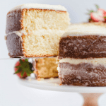 classic vanilla layer cake with mascarpone cream cheese