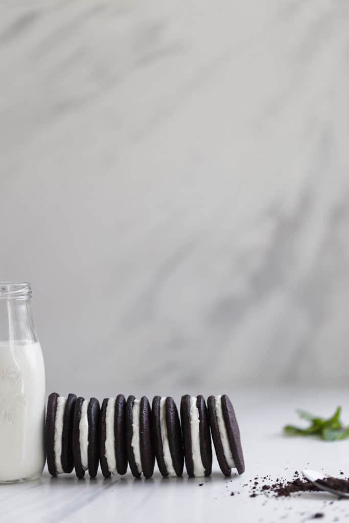 Mint chocolate sandwich cookies with bourbon-vanilla cream