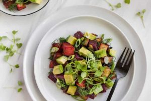 Red flannel beet hash with dill and avocado