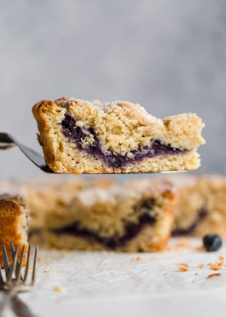 slice of blueberry coffee cake on spatula