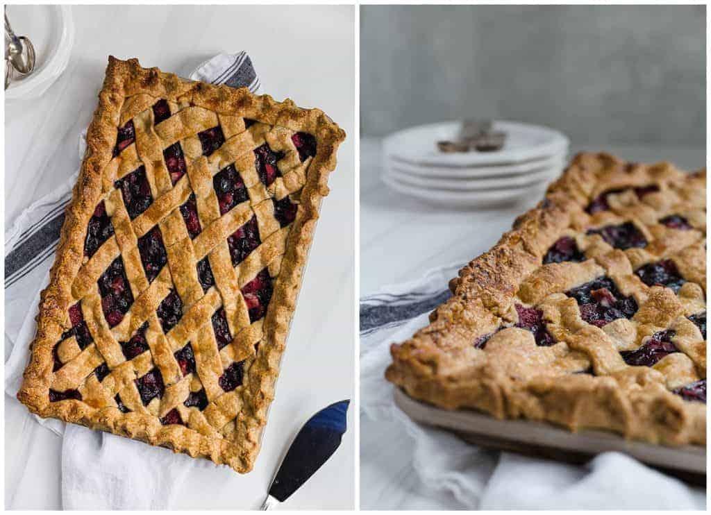 triple berry spelt slab pie