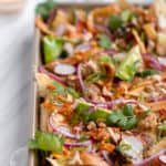 sheet pan nachos with banh mi toppings