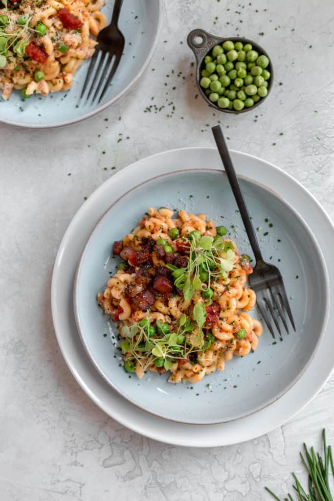 macaroni with crispy pancetta and tomatoes
