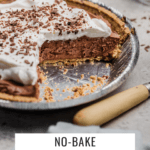 view of center of no-bake chocolate mousse pie with whipped cream