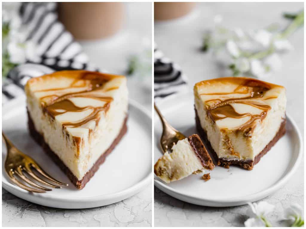 easy to slice dulce de leche cheesecake with chocolate chip cookie crust!