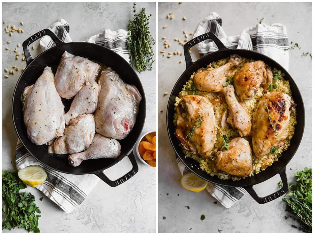 apricot chicken in a cast iron skillet before and after roasting