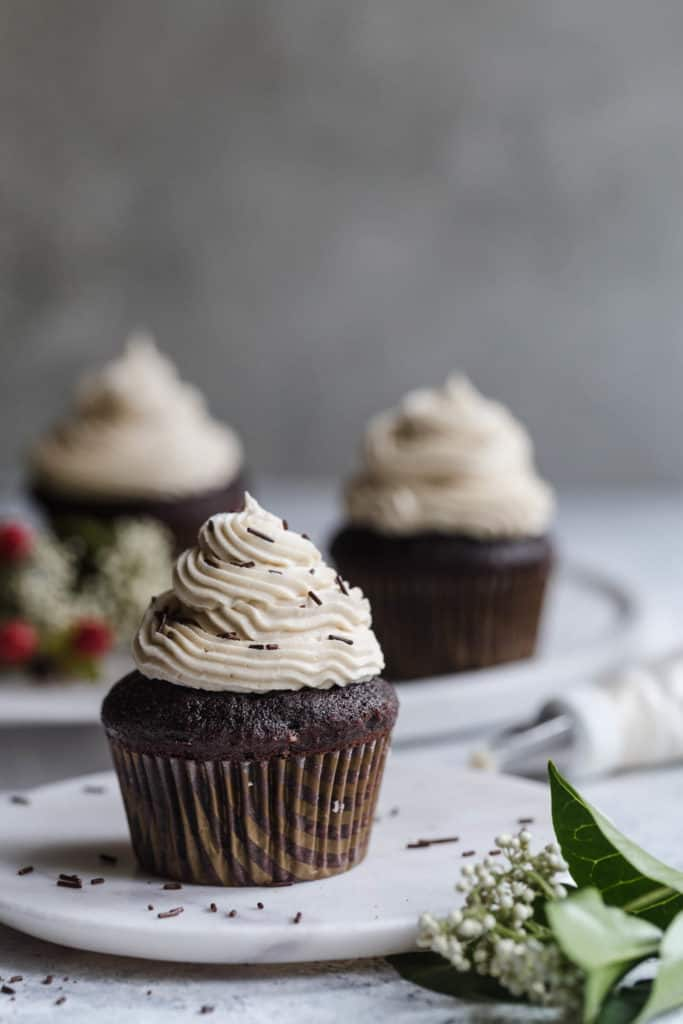 homemade chocolate cupcakes with espresso buttercream