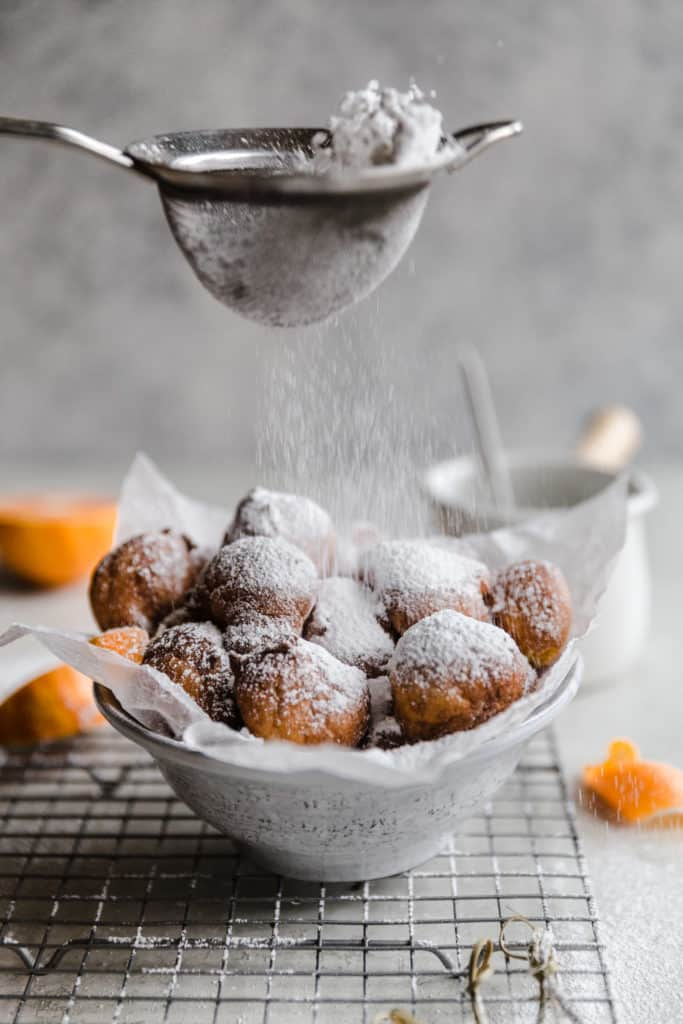 ricotta fritters with cara cara orange chocolate dipping sauce!