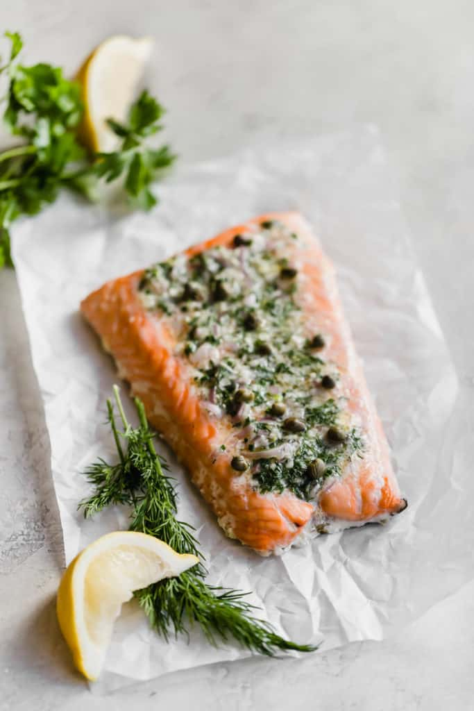 weeknight slow baked salmon with herb shallot butter!