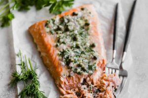 Weeknight Slow Baked Salmon with Herb Shallot Butter