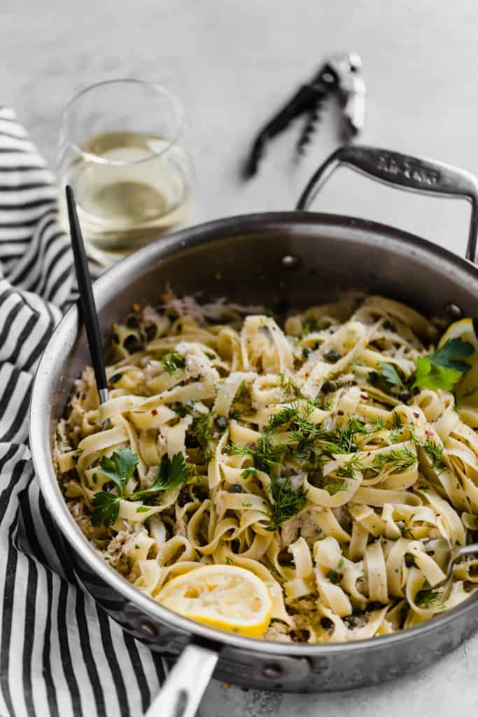 spicy crab meat pasta in large sauce pan