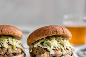 Turkey Feta Burgers with Apple Cabbage Slaw