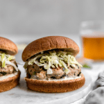 turkey burger with apple cabbage slaw