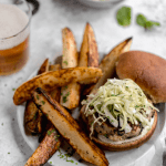 healthy turkey feta burgers with apple cabbage slaw and potato wedges