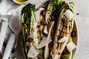 Grilled Romaine with Pumpernickel Croutons and Lemon Caesar Vinaigrette