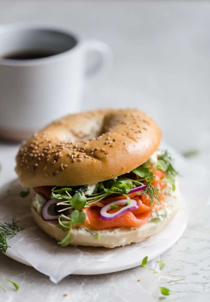 perfect bagel and lox breakfast sandwich