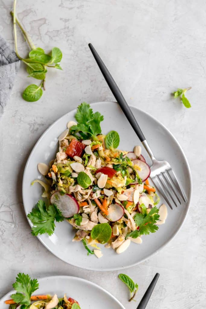 warm brussels sprout slaw with asian sesame vinaigrette