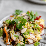meal prep made simple! warm brussels sprout slaw with asian sesame vinaigrette