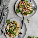 healthy warm brussels sprout slaw with asian sesame vinaigrette