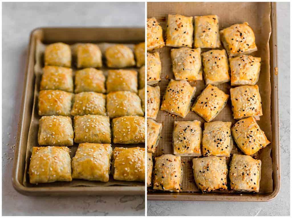 sesame bourekas and everything bagel bourekas