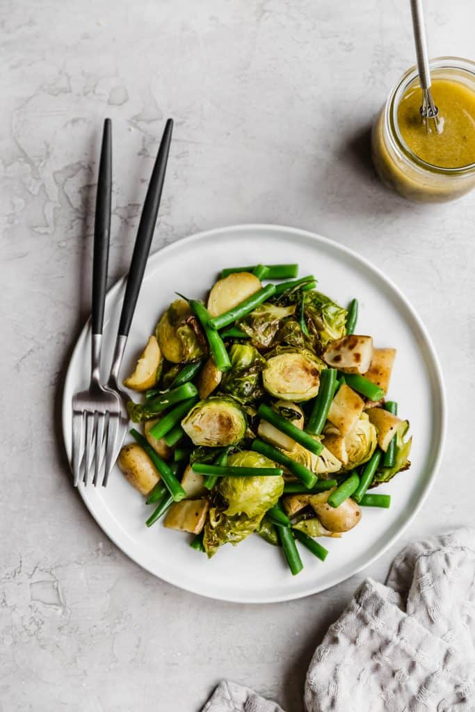 Roasted brussels sprouts, haricots verts, and potatoes