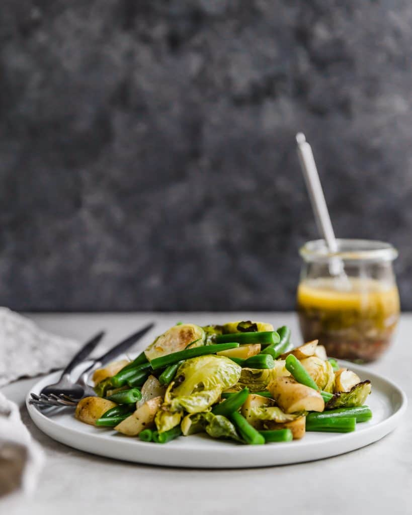 Roasted brussels sprouts, haricots verts, and potato salad