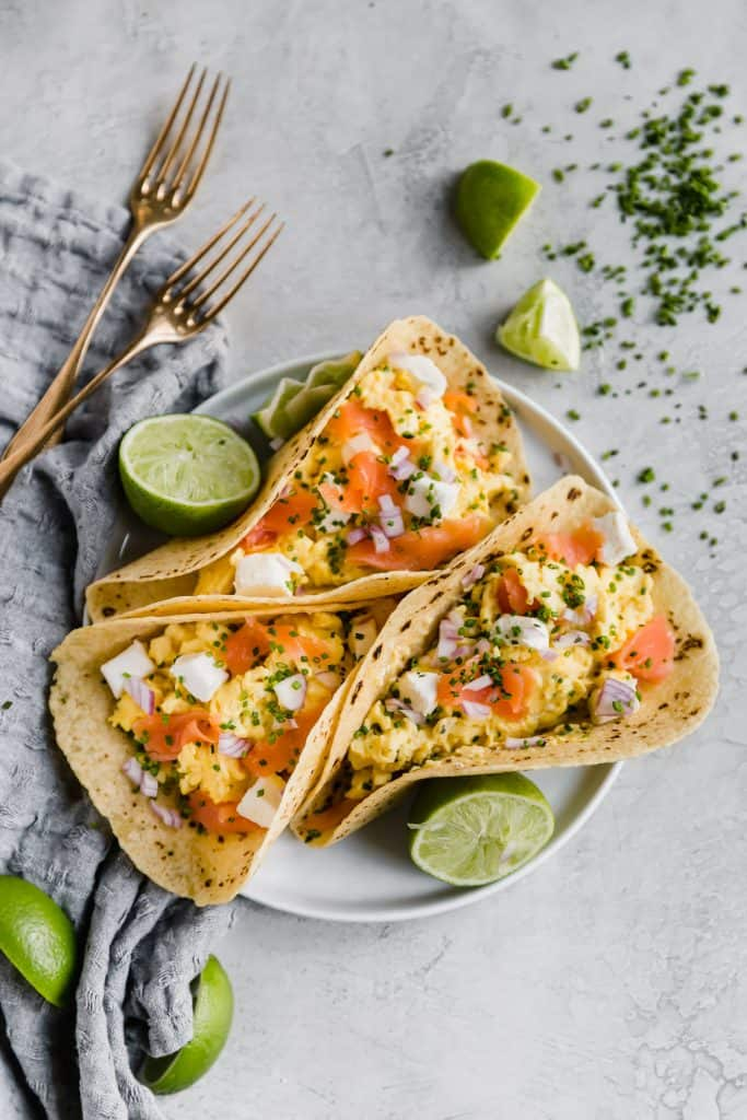 smoked salmon breakfast tacos!