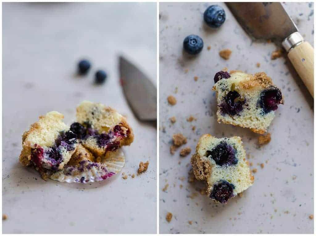 mini blueberry streusel muffin cut in half