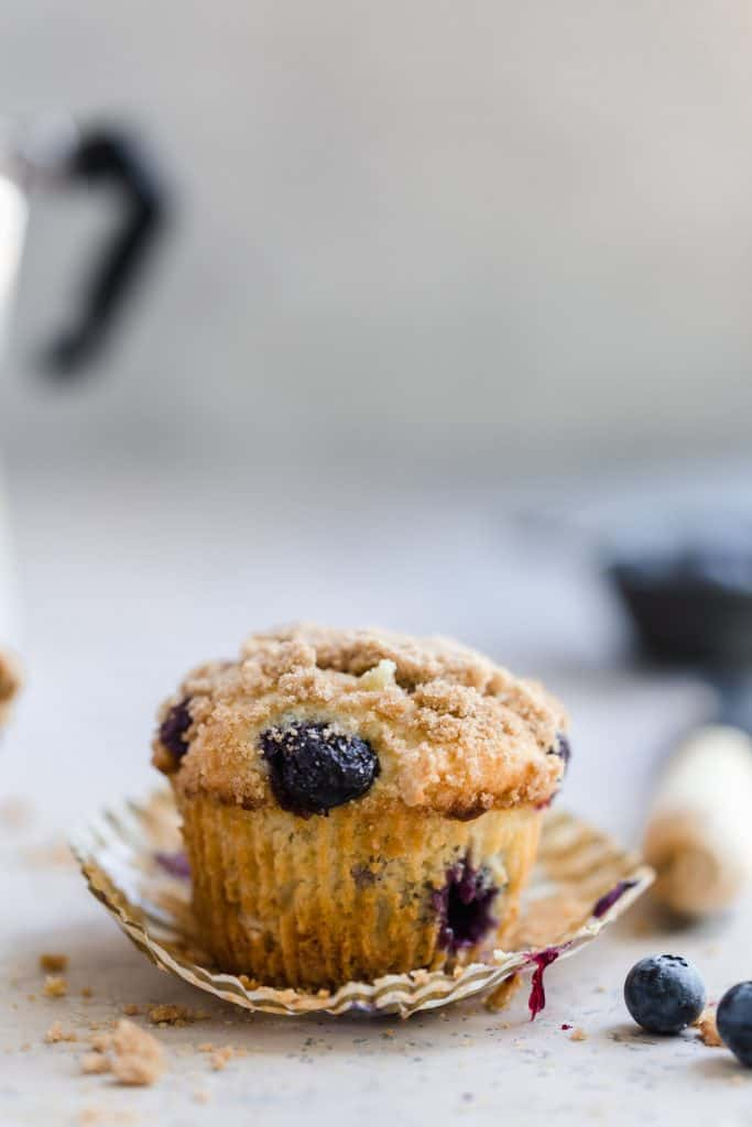 blueberry muffins with greek yogurt and streusel