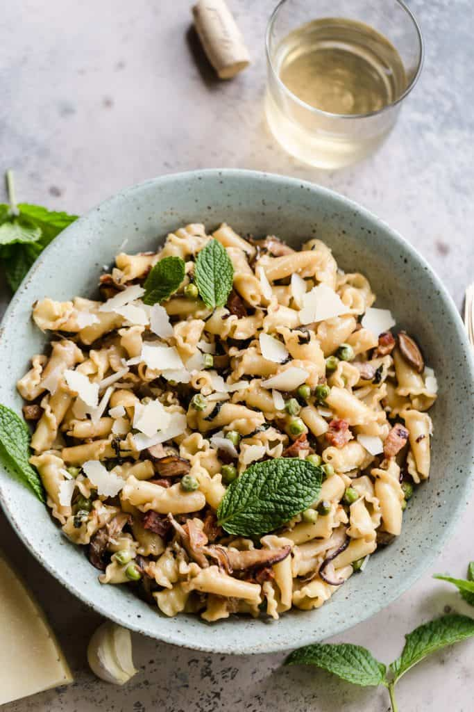 Pasta with pancetta, peas, and mint