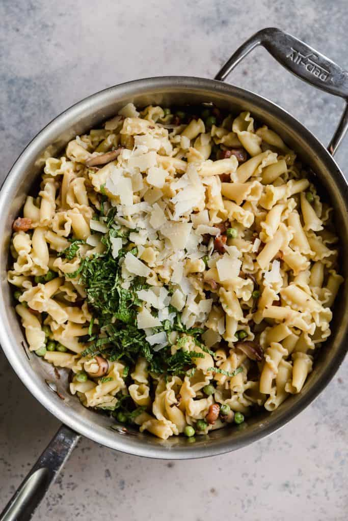 Campanelle with mint, peas, and crispy pancetta