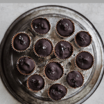 homemade chocolate cups with edible cookie dough