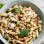 elegant weeknight pasta with mint, pancetta, and peas