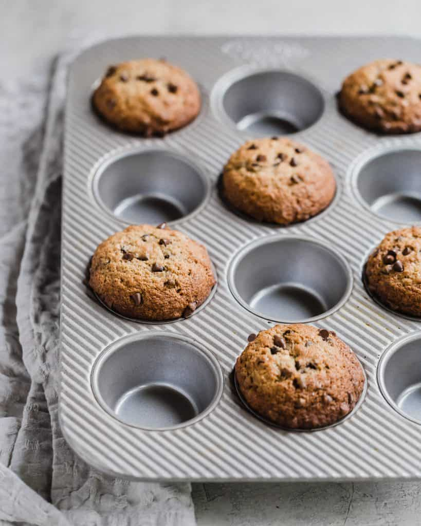easy homemade chocolate chip banana muffins